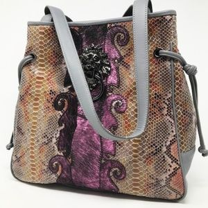 Lion's Gate Knocker Tote Bag--Grey Snake Skin